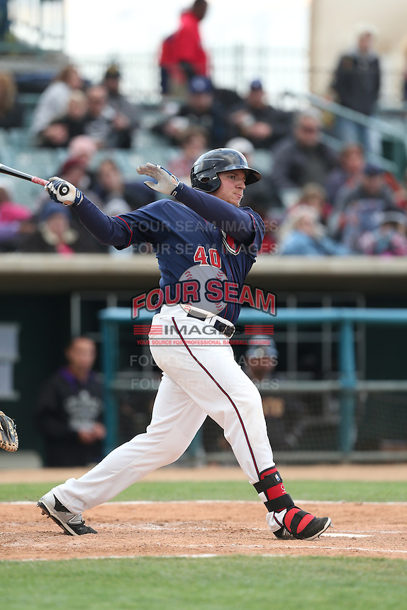 A.J. Reed (40) of the Lancaster JetHawks bats during a game against the Modesto Nuts at The Hanger on April 25, 2015 in Lancaster, California. Lancaster defeated Modesto, 5-4. (Larry Goren/Four Seam Images)