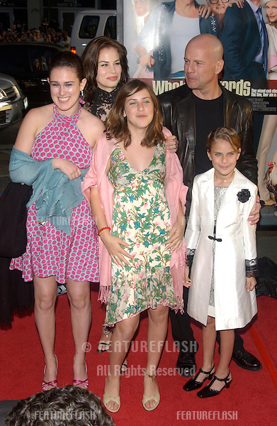 Actor BRUCE WILLIS & actress girlfriend BROOKE BURNS & his children including his youngest TALLULAH BELLE WILLS at the world premiere, in Hollywood, of his new movie The Whole Ten Yards..April 7, 2004