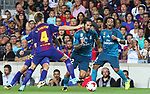 Jordi Alba in action during Supercopa de España game 1 between FC Barcelona against Real Madrid at Camp Nou
