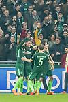 12.03.2018, Weser Stadion, Bremen, GER, 1.FBL, Werder Bremen vs 1.FC Koeln, im Bild<br /> <br /> Jubel 1 zu 0 Milot Rashica (Neuzugang Werder Bremen #11) mit Theodor Gebre Selassie (Werder Bremen #23)<br /> Milot Rashica (Neuzugang Werder Bremen #11) Thomas Delaney (Werder Bremen #6) Ludwig Augustinsson (Werder Bremen #5)<br /> <br /> <br /> Foto &copy; nordphoto / Kokenge