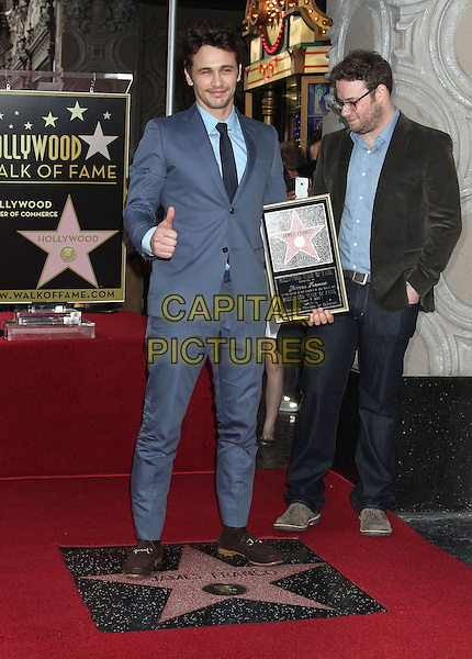 James Franco, Seth Rogen.James Franco Honored with Star on the Hollywood Walk of Fame, Hollywood, California, USA, 7th March 2013..full length  holding frame  grey suit tie blue shirt glasses brown jacket thumb up .CAP/ADM/RE.©Russ Elliot/AdMedia/Capital Pictures.