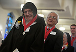 MALDEN MA NOVEMBER25: Mother Michael Crimmins, of the North Region, and Willam D. Chin of Saint Joseph Parish in Belmont, stand with as all 125 recipients at the end of the ceremony to huge ovation, during the 2018 Cheverus awards, Sunday, November 25, 2018, at the Immaculate Conception Church in Malden. (Herald Photo by Jim Michaud)