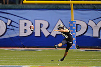 20 December 2011:  FIU kicker Jack Griffin (38) kicks off in the first quarter as the Marshall University Thundering Herd defeated the FIU Golden Panthers, 20-10, to win the Beef 'O'Brady's St. Petersburg Bowl at Tropicana Field in St. Petersburg, Florida.