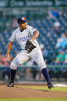 West Michigan Whitecaps pitcher Adenson Verastegui (8) delivers a pitch to the plate against the Fort Wayne TinCaps on May 23, 2016 at Parkview Field in Fort Wayne, Indiana. The TinCaps defeated the Whitecaps 3-0. (Andrew Woolley/Four Seam Images)