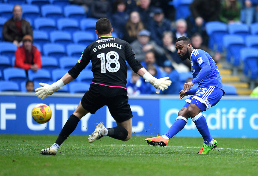 GOAL - Cardiff City's Junior Hoilett scores his sides second goal <br /> <br /> Photographer Ashley Crowden/CameraSport<br /> <br /> The EFL Sky Bet Championship - Cardiff City v Rotherham United - Saturday 18th February 2017 - Cardiff City Stadium - Cardiff<br /> <br /> World Copyright &copy; 2017 CameraSport. All rights reserved. 43 Linden Ave. Countesthorpe. Leicester. England. LE8 5PG - Tel: +44 (0) 116 277 4147 - admin@camerasport.com - www.camerasport.com