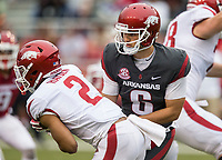 Hawgs Illustrated/BEN GOFF <br /> Ben Hicks, Arkansas quarterback, hands off to running back Chase Hayden in the second quarter Saturday, April 6, 2019, during the Arkansas Red-White game at Reynolds Razorback Stadium.