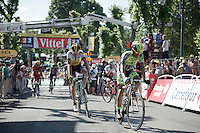 "Alberto Contador (ESP/Tinkoff-Saxo) finishes 18"" behind the stage winner.<br /> Robert Gesink (NLD/Team LottoNL-Jumbo) is right behind Contador.<br /> <br /> stage 3: Antwerpen (BEL) - Huy (BEL)<br /> 2015 Tour de France"
