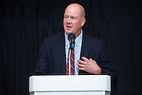"Former Major League Baseball pitcher Jim Abbott was the quest speaker at the Wake Forest Baseball ""First Pitch"" Dinner on February 9, 2017 in Winston-Salem, North Carolina.  (Brian Westerholt/Four Seam Images)"