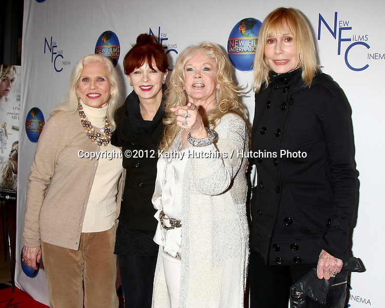 LOS ANGELES - DEC 13:  Maggie Blye, Frances Fisher, Connie Stevens, Sally Kellerman arrives to the 'Saving Grace B. Jones' Premiere at ICM Screening Room on December 13, 2012 in Century CIty, CA