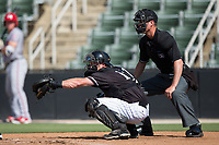 Kannapolis Intimidators catcher Casey Schroeder (17) frames a pitch as home plate umpire Mark Bass looks on during the game against the Hagerstown Suns at Kannapolis Intimidators Stadium on June 15, 2017 in Kannapolis, North Carolina.  The Intimidators walked-off the Suns 5-4 in game one of a double-header.  (Brian Westerholt/Four Seam Images)