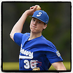 Starting pitcher Walt Thomas (38) of the Spartanburg Methodist College Pioneers allowed just one run to earn the 4-3 win in Game 2 of a junior college doubleheader against the Southeastern Community Rams on Tuesday, March 26, 2019, at Mooneyham Field in Spartanburg, South Carolina. (Tom Priddy/Four Seam Images)