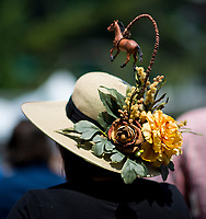 ELMONT, NY - JUNE 10: A woman wears a hat with a horse hanging on it on Belmont Stakes Day at Belmont Park on June 10, 2017 in Elmont, New York (Photo by Scott Serio/Eclipse Sportswire/Getty Images)