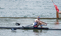 """Henley on Thames, United Kingdom, 7th July 2018, Friday, View, Semi Final, """"Diamond  Challege Sculls""""  Maha Drysdale, from the """"Regatta Enclosure, """"Fourth day"""", of the annual,  """"Henley Royal Regatta"""", Henley Reach, River Thames, Thames Valley, England, © Peter SPURRIER,"""