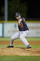 Pulaski Yankees relief pitcher Kevin Milam (59) in action against the Burlington Royals at Burlington Athletic Stadium on August 25, 2019 in Burlington, North Carolina. The Yankees defeated the Royals 3-0. (Brian Westerholt/Four Seam Images)