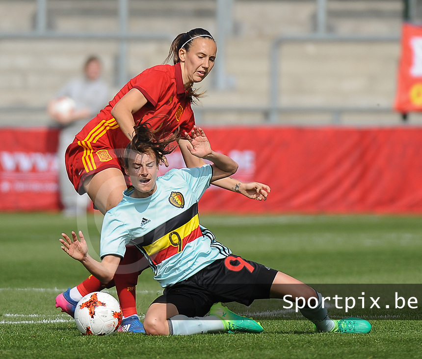 20170408 - EUPEN ,  BELGIUM : Belgian Tessa Wullaert (9) and Spanish Virginia Torrecilla (red)  pictured during the female soccer game between the Belgian Red Flames and Spain , a friendly game before the European Championship in The Netherlands 2017  , Saturday 8 th April 2017 at Stadion Kehrweg  in Eupen , Belgium. PHOTO SPORTPIX.BE | DIRK VUYLSTEKE
