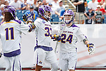 Ron John (#33) celebrates a goal as Yale defeats UAlbany 20-11 in the NCAAA semifinal game at Gillette Stadium, May 26.