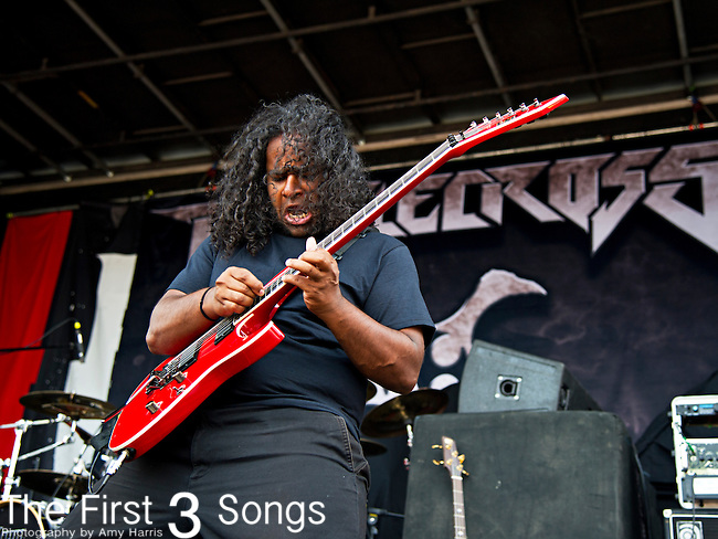 Hiran Deraniyagala of Battlecross performs during the 2013 Mayhem Festival at Klipsch Music Center in Indianapolis, Indiana.