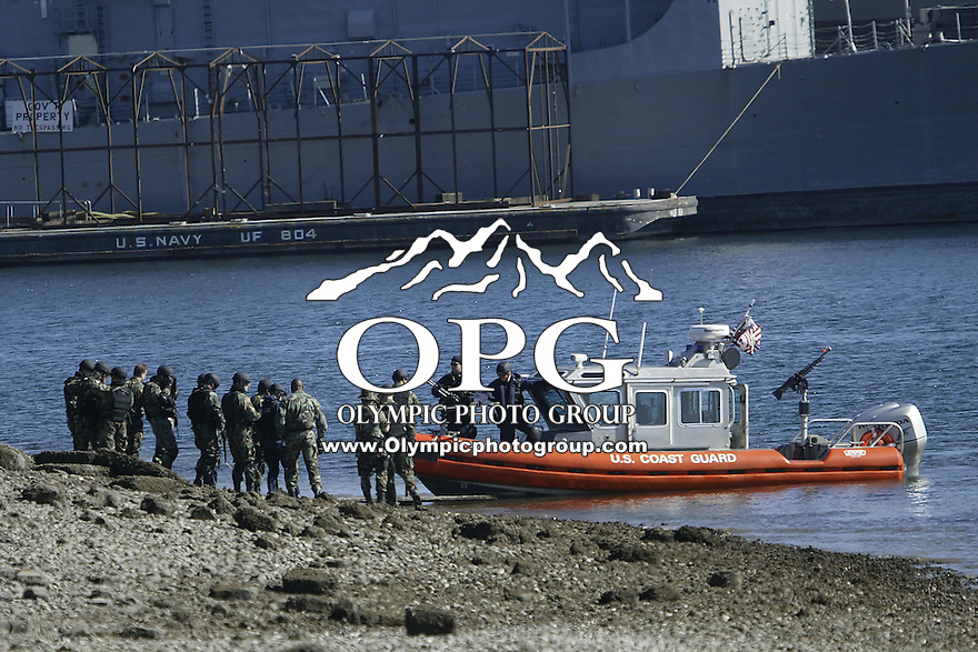 March 3, 2004 : The United States Coast Guard ran through terrorist drills in the Sinclair Inlet waters in front of the Bremerton Navy shipyard in Bremerton, Washington.