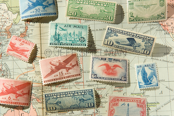 Old United States of America Airmail Postage Stamps and 1930 World Map<br />