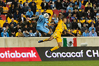 HARRISON, NJ - MARCH 11: Valentin Castellanos #11 of NYCFC goes up for a header with Francisco Meza #21 of Tigres UANL during a game between Tigres UANL and NYCFC at Red Bull Arena on March 11, 2020 in Harrison, New Jersey.