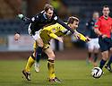 St Mirren's Jeroen Tesselaar blocks Dundee's Martin Boyle.