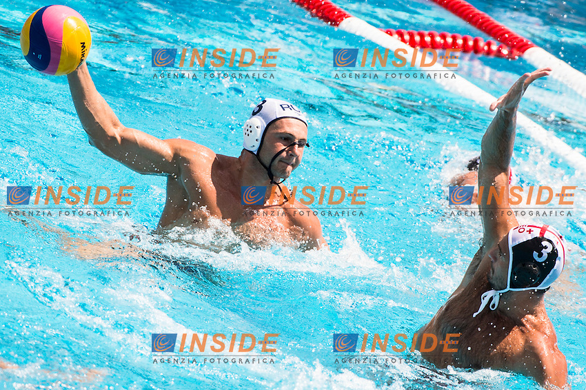 3  NEGREAN Tiberiu ROU<br /> 3  TSREPULIA Damir GEO<br /> Romania(white) vs Georgia(black)<br /> LEN European Water Polo Championships 2014<br /> Alfred Hajos -Tamas Szechy Swimming Complex<br /> Margitsziget - Margaret Island<br /> Day01 - July 14 <br /> Photo G. Scala/Inside/