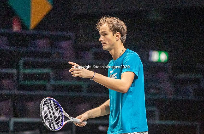 Rotterdam, The Netherlands, 9 Februari 2020, ABNAMRO World Tennis Tournament, Ahoy, Practise: Danill Medvedev (RUS)<br /> Photo: www.tennisimages.com