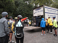 Bear Mountain, New York - Marshals for the Henry Hudson Ride prepare to unload bikes that have been trucked to the start...Hundreds of cyclists pedaled from Bear Mountain to New York to mark the 400th anniversary of Henry Hudson discovering the North River, which now bears his name.