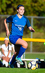BURLINGTON ,  CT-101519JS11-  ACTION PERSON- Lewis Mills' Alyse Pasqualini (18) pushes the ball up field during their 2-1 loss to Newington Tuesday at Nassahegan Field in Burlington. <br /> Jim Shannon Republican-American