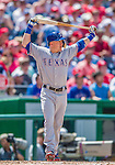 1 June 2014: Texas Rangers outfielder Dan Robertson in action against the Washington Nationals at Nationals Park in Washington, DC. The Rangers shut out the Nationals 2-0 to salvage the third the third game of their 3-game inter-league series. Mandatory Credit: Ed Wolfstein Photo *** RAW (NEF) Image File Available ***