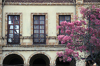 Facade of Spanish colonial building on Cuenca, Ecuador