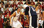 Caleb Forrest (#52) keeps a watchful eye on Gonzaga's Austin Daye (#5) during the Cougars game with the Bulldogs at Friel Court in Pullman, Washington, on December 10, 2008.  Despite Forrest's 9 points in the game, Gonzaga pulled away in the second half to break a two game losing streak to Washington State, 74-52.