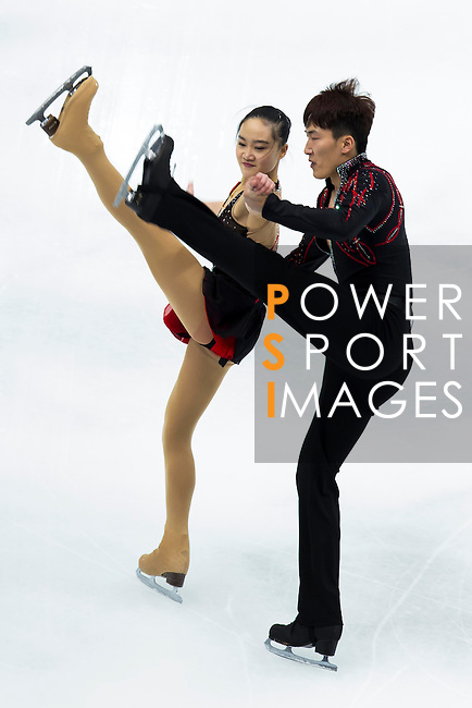 TAIPEI, TAIWAN - JANUARY 22:  Wenting Wang and Yan Zhang of China compete in the Pairs Short Program event during the Four Continents Figure Skating Championships on January 22, 2014 in Taipei, Taiwan.  Photo by Victor Fraile / Power Sport Images *** Local Caption *** Wenting Wang; Yan Zhang