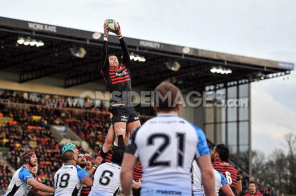 Ernst Joubert rises high to win lineout ball. Heineken Cup match, between Saracens and Connacht Rugby on January 18, 2014 at Allianz Park in London, England. Photo by: Patrick Khachfe / JMP
