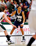 31 January 2010: University of New Hampshire Wildcats' guard Lauren Wells, a Sophomore from West Chester, PA, in action against the University of Vermont Catamounts at Patrick Gymnasium in Burlington, Vermont. The Lady Catamounts defeated the visiting Wildcats 78-64. Mandatory Credit: Ed Wolfstein Photo