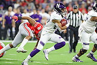 Indianapolis, IN - December 1, 2018: Northwestern Wildcats running back John Moten IV (20) runs for a touchdown during the Big Ten championship game between Northwestern  and Ohio State at Lucas Oil Stadium in Indianapolis, IN.   (Photo by Elliott Brown/Media Images International)