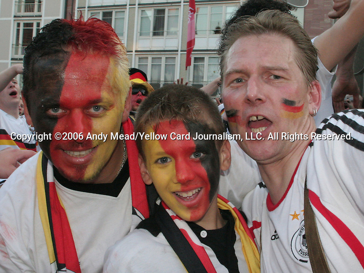 30 June 2006: Germany fans celebrate in the town square in Frankfurt, site of several games during the FIFA 2006 World Cup. Germany had just defeated Argentina in a Quarterfinal game played in Berlin.