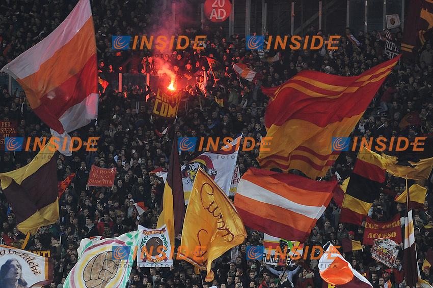 Tifosi AS Roma. Supporters <br /> Roma 21-01-2014 Stadio Olimpico - Football Calcio Coppa Italia 2013/2014 AS Roma - Juventus Foto Andrea Staccioli / Insidefoto
