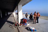 Barcellona, Spagna, Catalogna, partita di domino sulla spiaggia di Barceloneta