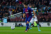 5th December 2017, Camp Nou, Barcelona, Spain; UEFA Champions League football, FC Barcelona versus Sporting Lisbon; Luis Suarez of FC Barcelona passes the ball