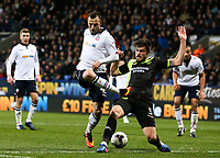 Bury's Cameron Burgess blocks a shot from Bolton Wanderers' Adam Le Fondre<br /> <br /> Photographer Alex Dodd/CameraSport<br /> <br /> The EFL Sky Bet League One - Bolton Wanderers v Bury - Tuesday 18th April 2017 - Macron Stadium - Bolton<br /> <br /> World Copyright &copy; 2017 CameraSport. All rights reserved. 43 Linden Ave. Countesthorpe. Leicester. England. LE8 5PG - Tel: +44 (0) 116 277 4147 - admin@camerasport.com - www.camerasport.com