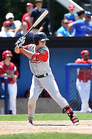 Lowell Spinners outfielder Nick Longhi (21) at bat during a game against the Batavia Muckdogs on July 17, 2014 at Dwyer Stadium in Batavia, New York.  Batavia defeated Lowell 4-3.  (Mike Janes/Four Seam Images)