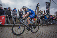 later winner Niki Terpstra (BEL/Quick Step Floors) up the 3th passage of the Oude Kwaremont.<br /> <br /> 102nd Ronde van Vlaanderen 2018<br /> 1day race: Antwerp › Oudenaarde - BEL (265k)