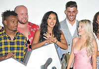 Maya Jama with some of the participants at the &quot;True Love or True Lies?&quot; MTV brand new show launch photocall, MTV HQ, Hawley Crescent, London, England, UK, on Tuesday 07 August 2018.<br /> CAP/CAN<br /> &copy;CAN/Capital Pictures