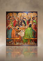 Gothic altarpiece depicting the Last Supper (Sant Sopar) by Jaume Huguet, circa 1463 - 1475, Temperal and gold leaf on wood, from the convent of Sant Augusti Vell, Barcelona.  National Museum of Catalan Art, Barcelona, Spain, inv no: MNAC  40412. Against a art background.