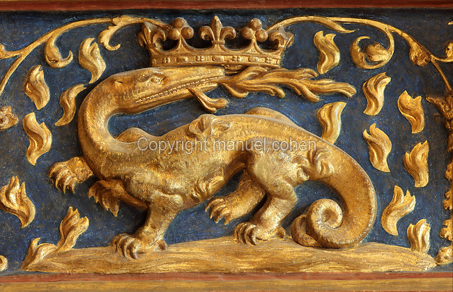 Salamander breathing fire with crown, symbol of Francois I, on a fireplace in the Salle du Roi, or King's Hall, used by Francois I for meals and audiences, on the first floor of the Francois I wing, built early 16th century in Italian Renaissance style, at the Chateau Royal de Blois, built 13th - 17th century in Blois in the Loire Valley, Loir-et-Cher, Centre, France. The hand-painted wallpaper, tiled floor and painted ceiling, were restored by Felix Duban in 1861-66. The chateau has 564 rooms and 75 staircases and is listed as a historic monument and UNESCO World Heritage Site. Picture by Manuel Cohen