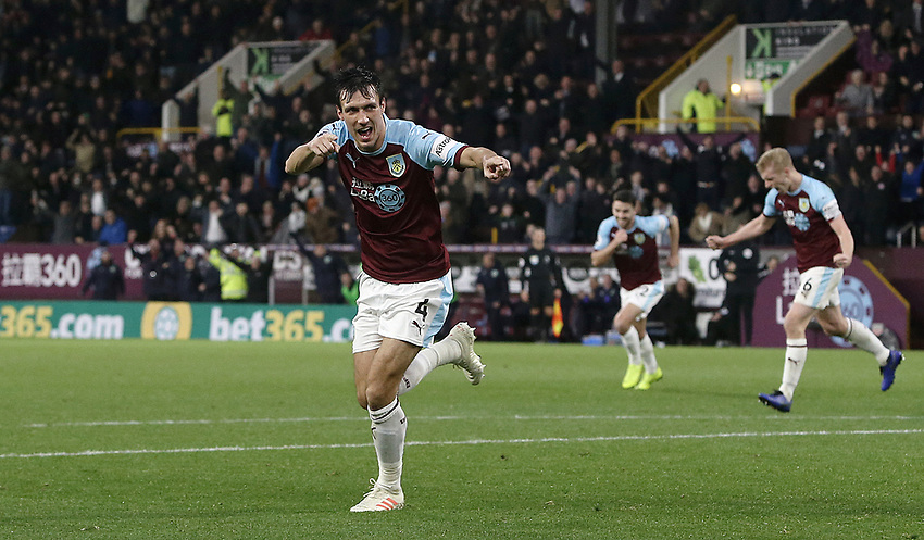 Burnley's Jack Cork wheels away in celebration after his shot was put over the line by James Tarkowski to score his sides opening goal<br /> <br /> Photographer Rich Linley/CameraSport<br /> <br /> The Premier League - Burnley v Brighton and Hove Albion - Saturday 8th December 2018 - Turf Moor - Burnley<br /> <br /> World Copyright © 2018 CameraSport. All rights reserved. 43 Linden Ave. Countesthorpe. Leicester. England. LE8 5PG - Tel: +44 (0) 116 277 4147 - admin@camerasport.com - www.camerasport.com