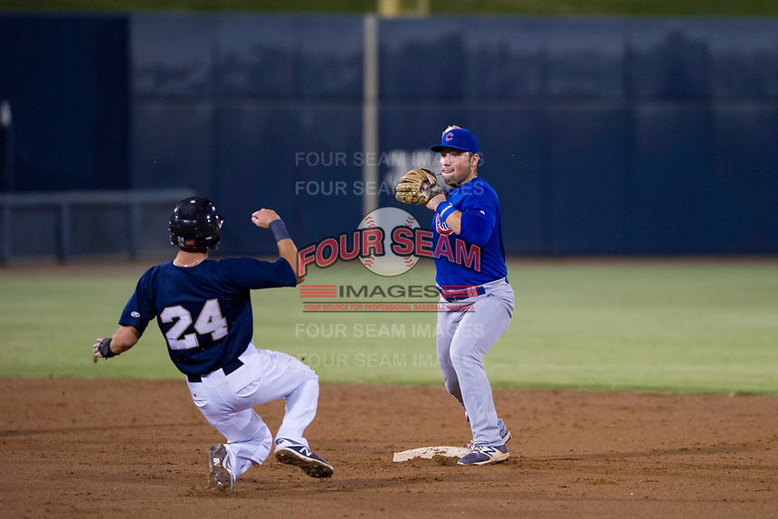 AZL Cubs second baseman Cam Balego (82) makes a throw to first base against the AZL Brewers on August 24, 2017 at Maryvale Baseball Park in Phoenix, Arizona. AZL Cubs defeated the AZL Brewers 9-1. (Zachary Lucy/Four Seam Images)