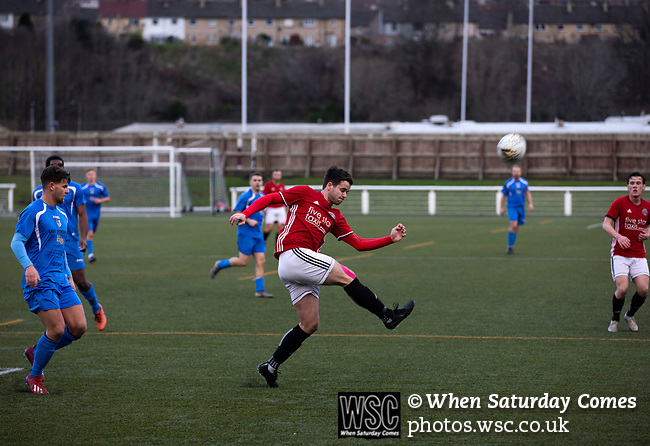 Gala Fairydean Rovers 4, Gretna 1, 25/01/2020. Netherdale, Scottish Lowland League. First-half action as Gala Fairydean Rovers (in red) host Gretna 2008 in a Scottish Lowland League match at Netherdale, Galashiels. The home club were established in 2013 through a merger of Gala Fairydean, one of Scotland's most successful non-League clubs, and local amateur club Gala Rovers. The visitors were a 'phoenix' club set up in the wake of the collapse of the original club, which had competed for a short time in the 2000s before going bankrupt. The home aside won this encounter 4-1 watched by a crowd of 120. Photo by Colin McPherson.