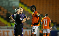 Referee Sebastian Stockbridge has words with Blackpool's Armand Gnanduillet and Tranmere Rovers' Mark Ellis<br /> <br /> Photographer Alex Dodd/CameraSport<br /> <br /> The EFL Sky Bet League One - Blackpool v Tranmere Rovers - Tuesday 10th March 2020 - Bloomfield Road - Blackpool<br /> <br /> World Copyright © 2020 CameraSport. All rights reserved. 43 Linden Ave. Countesthorpe. Leicester. England. LE8 5PG - Tel: +44 (0) 116 277 4147 - admin@camerasport.com - www.camerasport.com